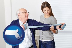 massachusetts map icon and rehabilitation therapy